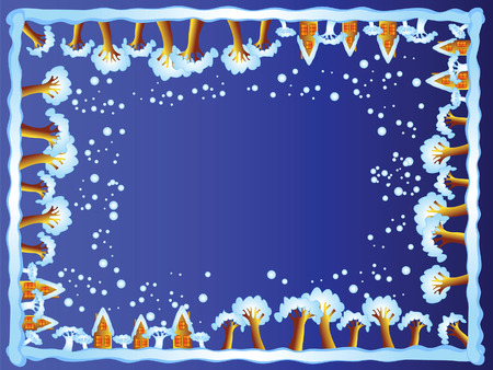 This is a frame. It consists of trees and houses.Winter night. Snowfall. Vector
