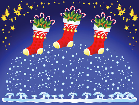 Christmas socks with gifts. The background is a winter evening landscape. Vector