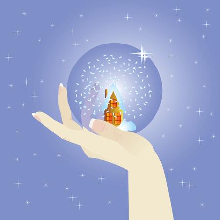 Hand holds a glass ball. Winter. Stock Vector - 6231901