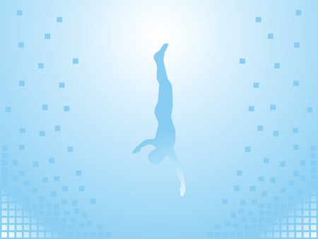 Man falls into the abyss. This is flight. The background is blue. Stock Vector - 6274615
