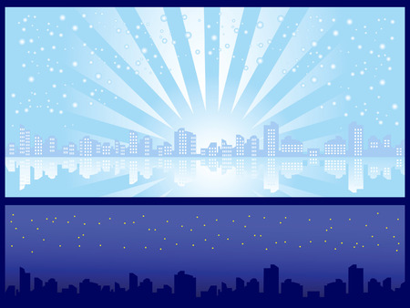 Set of two backgrounds. Cityscape. Winter day and night.