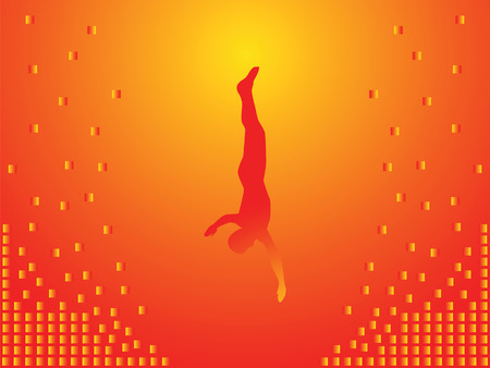 Man falls into the abyss. This is flight. The background is orange. Stock Vector - 6314748