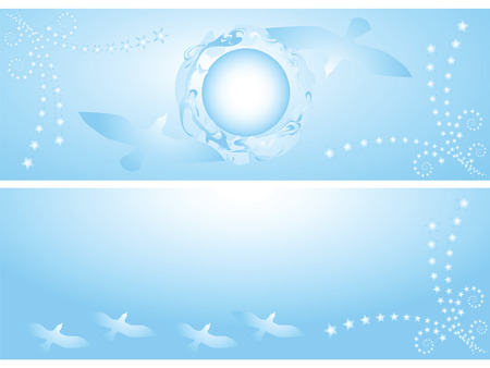 This is a set of two backgrounds. This sky, sun, flying flock of birds. Vector