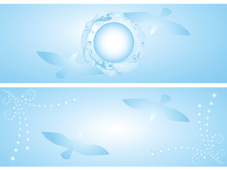 This is a set of two backgrounds. This sky, sun, flying bird. Vector