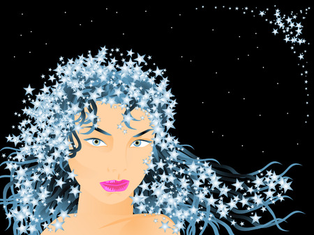 The girls face against the starry sky. In her hair entangled stars. Illustration