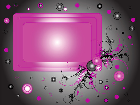This pink frame on a dark background. It is decorated with branches of the plant. Circles around it.