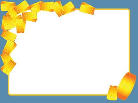 Ñheese and slices of cheese on a blue background frame. Illustration
