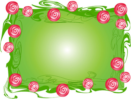 This is a frame of branches of roses in a simplified style. Vector