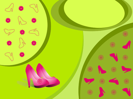 women's shoes: A pair of womens shoes on a light green background.
