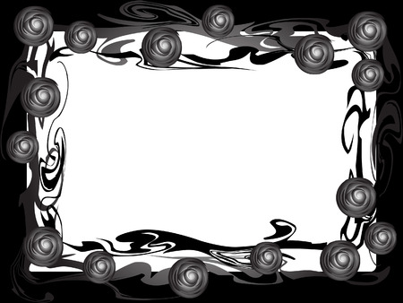 This is a frame of branches of roses. Monochrome. Retro style.