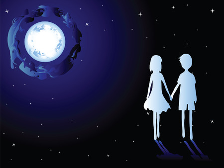 Romantic couple. Love the boy and girl.Walking in the moonlight.  Illustration