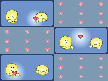 Set of comics. A pair of smiles. Valentines Day. Vector