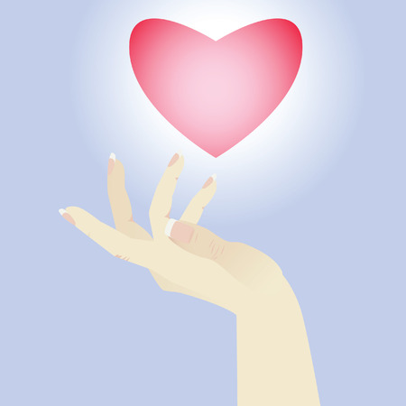 Womens hand. Heart soaring in the blue sky. Illustration