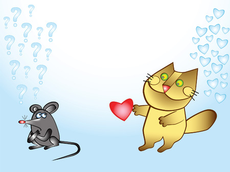 Cat gives mouse heart. Caricature. Comics. Valentines day. Vector