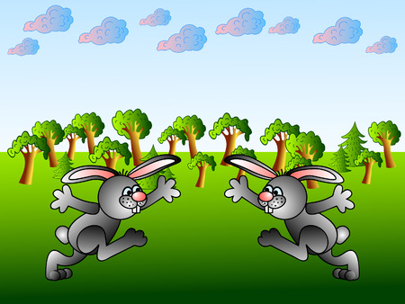 Two funny rabbits. Hearty welcome good friends.Cartoon