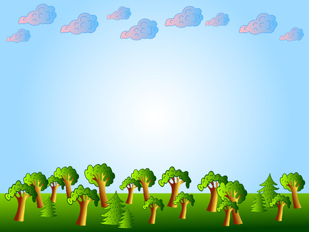 untouched: Natural background. Wood. The Sky and clouds. Illustration