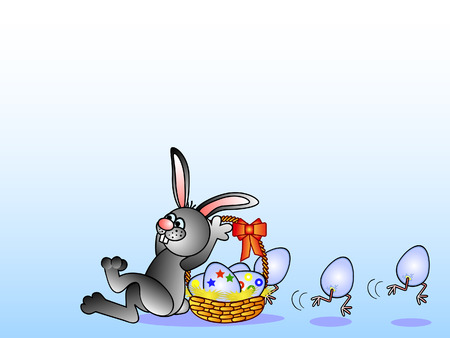 Easter background. Easter Bunny and eggs in basket. Eggs escape. Illustration