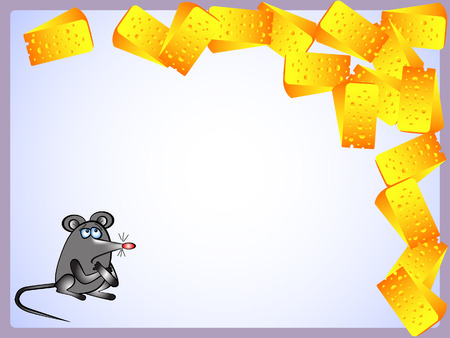 Background. Frame. Mouse looked with disbelief at the slices of cheese.