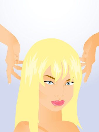 caring hands: Caring Hands hairdresser make hair beautiful blonde.
