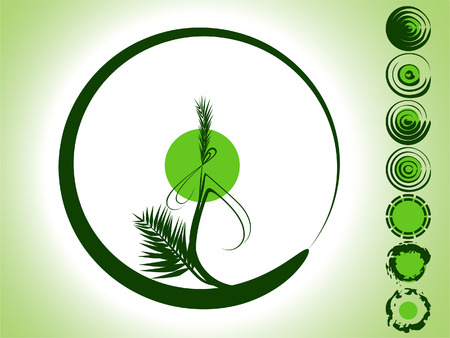 fengshui: The green background is representing the bamboo branch in the form of the circle, and seven spherical picturesque elements.