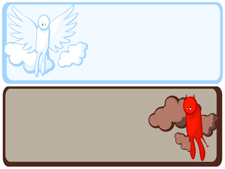 Religion. Christianity. Set of two frames. Angels and Demons. Vector