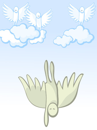 The fall of an angel from heaven. Background. Vector