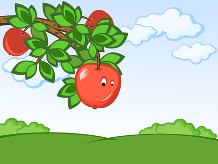 Rural landscape. Branch of a tree with apples. Comics. Vector