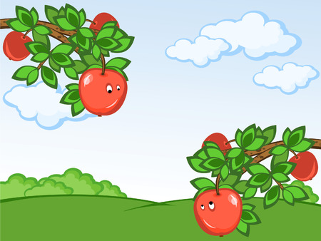 Rural landscape. Branch of a tree with apples. Two comical apples look against each other. Vector