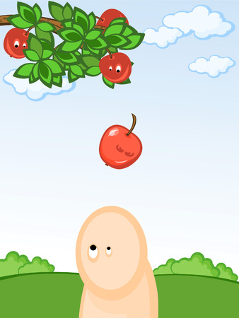 Branch of a tree with apples. The apple falls on a head to the person. Comics. Illustration