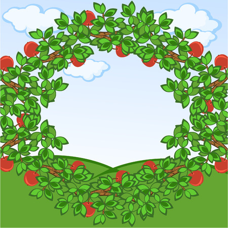 Framework from apple-tree branches. A background.  A rural landscape. Vector