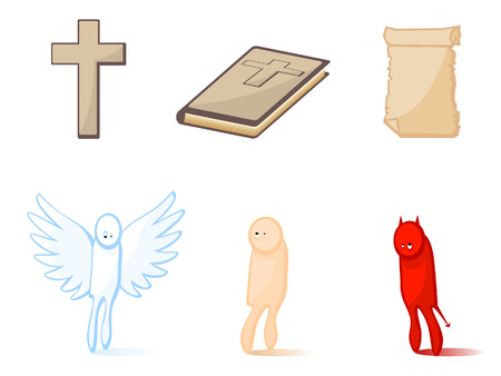 Set of icons of religious subjects. Christianity. Attributes. Illustration