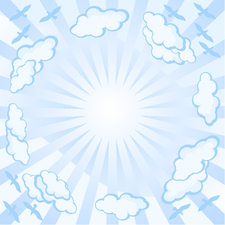 Background - the sky, clouds the sun. The flight of birds scatters. Gently blue color. Vector