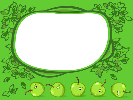 Framework of green color. Round it leaves. Apples in style of comics.