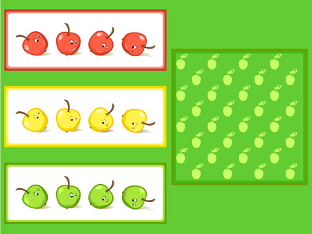 Cheerful sliding apples. A set of decorative elements. A seamless texture. Vector
