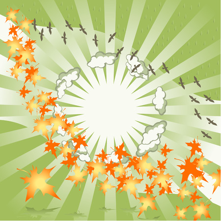 Background green. Autumn leaves turn. Sun rays. Flight of birds. Illustration