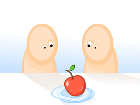 adam: Comics. Two persons want to eat one apple. Adam and Eve. Illustration