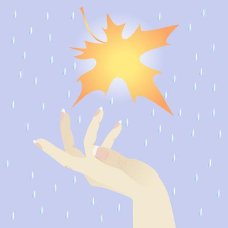 rainy sky: El cielo de lluvia oto�al. La mano femenina atrapa hoja de vuelo.