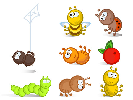 Cheerful comical insects in different poses. Isolated. Icons. Illustration