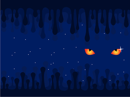 Background. Darkness. Mysterious eyes. The star sky. Vector