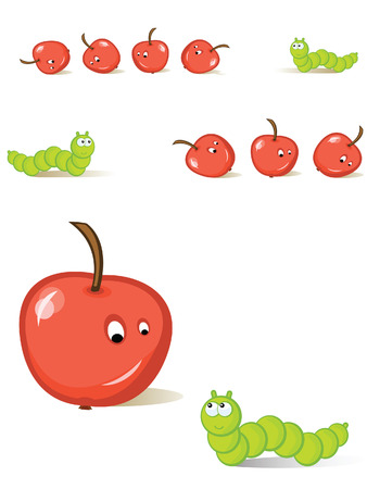 The caterpillar hunts for apples. A comics. A set of the isolated objects.