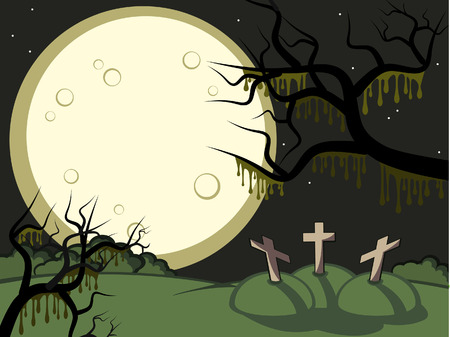 full frame: Halloween. Gloomy night. A full moon. On a cemetery three tombs. Illustration