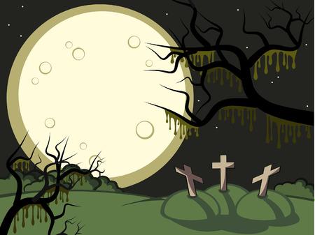 gloomy: Halloween. Gloomy night. A full moon. On a cemetery three tombs. Illustration