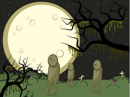 Halloween. Gloomy night. A full moon. On a cemetery zombies wander. Vector
