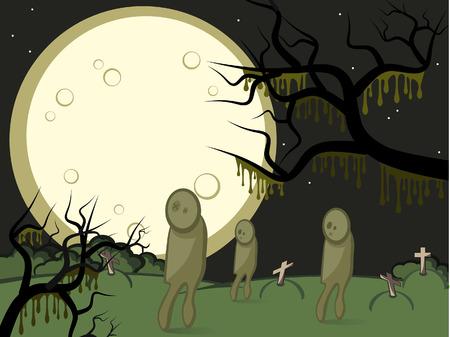 gloomy: Halloween. Gloomy night. A full moon. On a cemetery zombies wander.