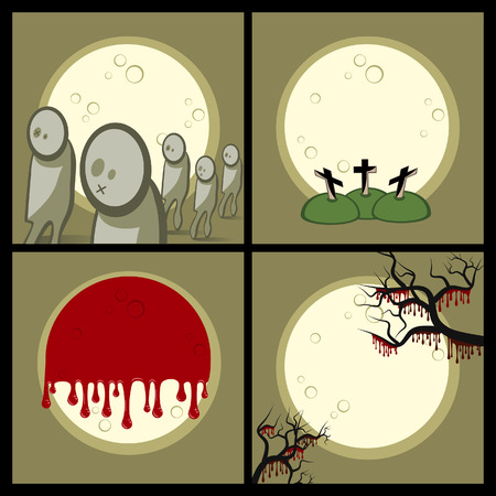 Set of icons (decorative elements). Halloween. Gloomy night. A full moon. On a cemetery zombies wander.