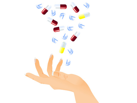 woman arms up: White background. The female hand catches falling tablets and pills. Isolated. Illustration