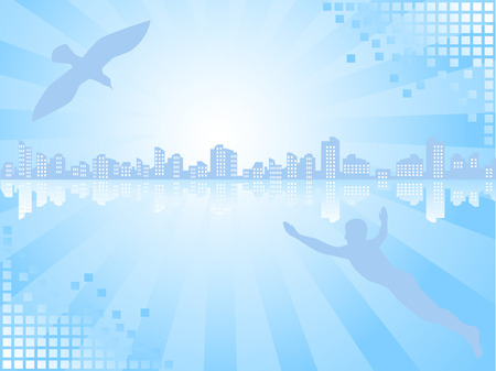 Background of blue color. On a line of horizon a city landscape. The person and a bird aspire there. Stock Vector - 8146242