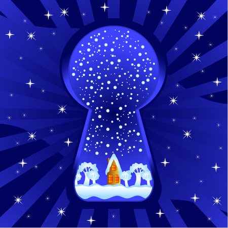 Winter evening. A dark blue background. Through a keyhole the landscape with a small house is visible. Vector