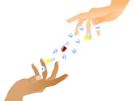 White background. The female hand catches falling tablets and pills. The hand of the black woman catches tablets. Isolated. Vector