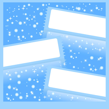 Frameworks in the form of stickers, banners against falling snow. Blue color. Stock Vector - 8146239